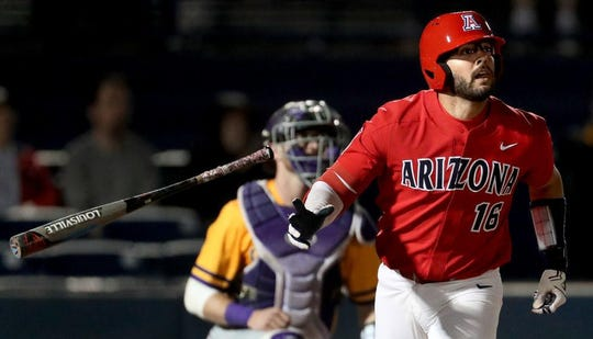 Arizona's Austin Wells (16) could be a first round MLB draft pick in the 2020 MLB draft.