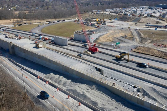 The Legoland overpass over Route 17 is seen on March 27.
