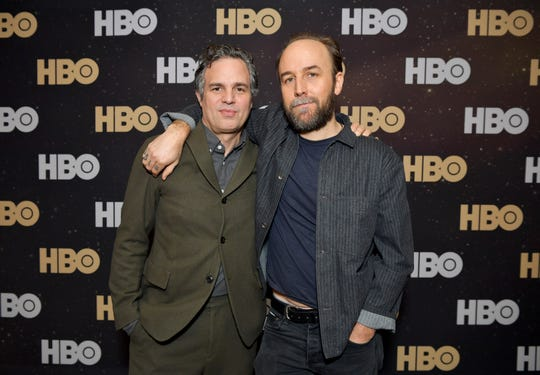 Actor Mark Ruffalo and director Derek Cianfrance pose together on Jan. 15 in Pasadena, California.