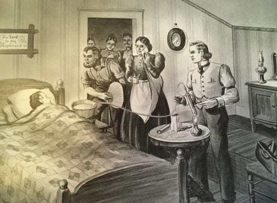 """Illustration of Dr. George E. Holtzapple's oxygen therapy in 1885 from the 1945 edition of """"York – The Story of a Dynamic Community"""" history book."""
