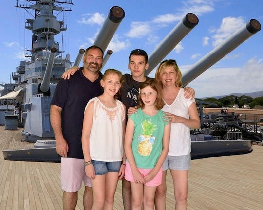 Here, the Woods family is on the USS Missouri in Hawaii back in 2018. Dad Jeff in the back row is a Hanover native and retired Naval aviator. Beside him are his son Connor and wife Cherie, and in the front are Keira and her younger sister,  Kendall.  They live in New Freedom.