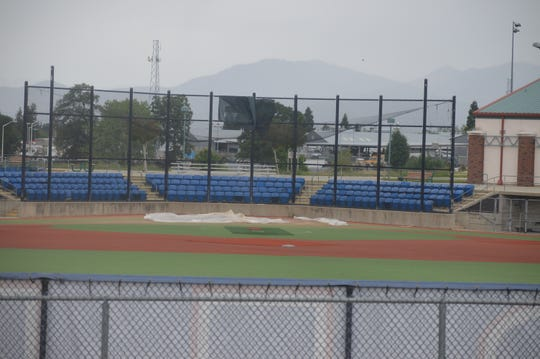 From the parking lot of Big League Dreams in Redding where the fields remain closed on Monday, May 11, 2020.