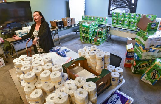 Executive Director Cara Ruff talks about the process behind creating care packages for distribution to clients Monday, May 11, 2020, at Independent Lifestyles Inc. in Sauk Rapids.