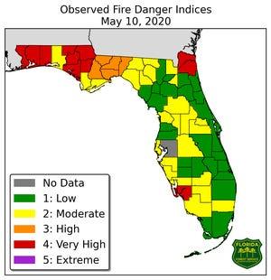 Florida Forest Service's Fire Danger Map.
