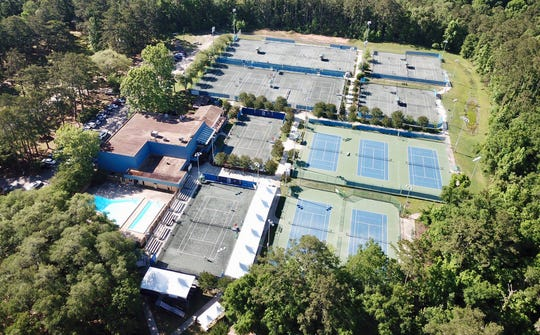 An aerial shot from a drone of Forestmeadows Tennis Complex in Tallahassee. USTA Florida and the USTA Florida Section Foundation have organized tennis provider support initiatives for $360,000 into tennis facilities across Florida impacted by the coronavirus pandemic.