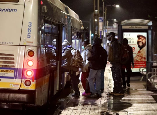 People board the 5:40 a.m. Bee-Line bus Route 40 on East Prospect Avenue in Mount Vernon, April 8, 2020.