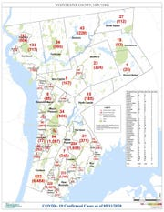 The May 11 town-by-town number of COVID-19 cases for Westchester County.
