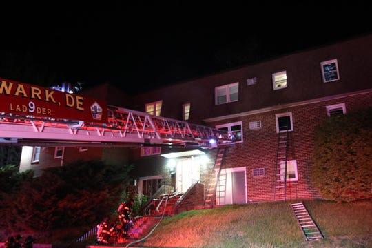 A fire damaged the Apartments at Pine Brook near Newark early Sunday. Crews remained on scene for about 90 minutes.
