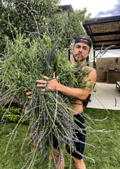 """Quarantine has given rise to a new hobby for Derek Hough: gardening.  """"It's this nice ritual in the morning,"""" he says. There are even plans for a bigger garden in the yard."""