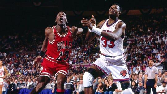Michael Jordan and Patrick Ewing in 1993.