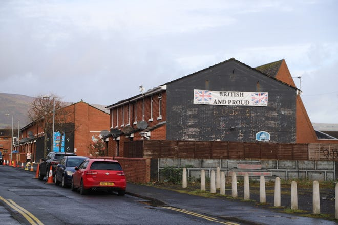 A banner displayed in the predominantly Protestant Linfield area in Belfast, Northern Ireland, U.K., photographed in March 2020.