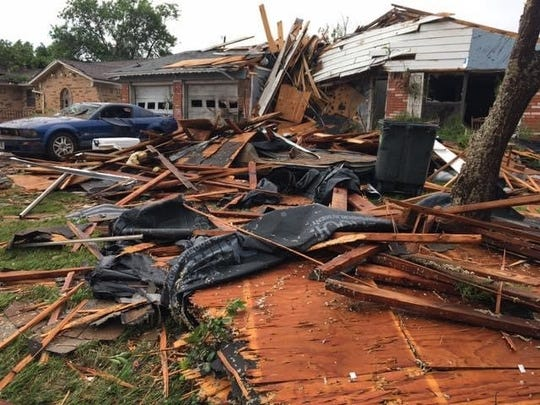 A heavily damaged residence from the May 18 tornado in Abilene. Police Lt. Joe Tauer took this picture in the immediate aftermath of the twister that damaged multiple homes in west and north Abilene.
