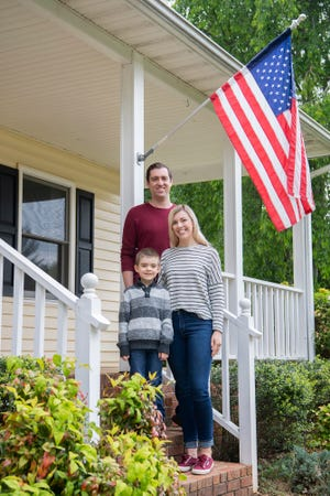 Kathryn and Corey Bell, here with their 5-year-old son, Jonah, bought a three-bedroom, 2.5-bath home in South Asheville this spring, despite the pandemic.