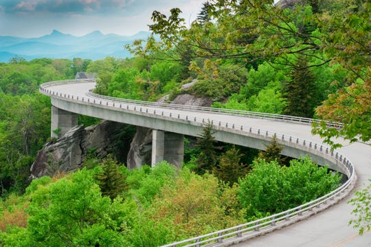 The Linn Cove Viaduct, part of the Blue Ridge Parkway near Grandfather Mountain, North Carolina.