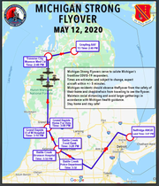 Map for the Michigan Strong Flyover on May 12 to honor Michigan's essential workers.