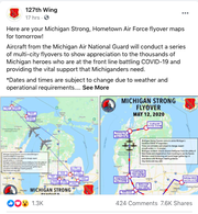 The Michigan National Guard will flyover several cities in Michigan on Tuesday to honor essential workers during the COVID-19 pandemic.
