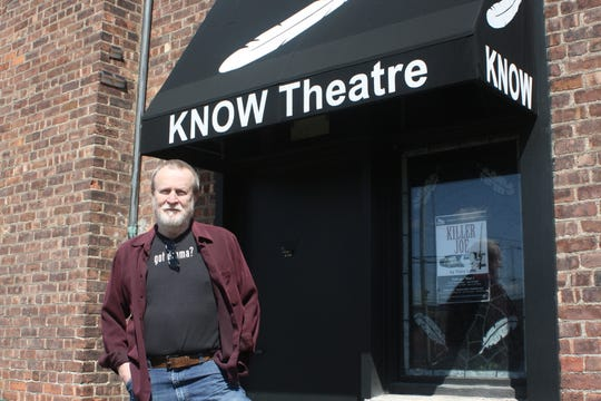 Tim Gleason, the Artistic Director of Know Theatre, stands outside the Binghamton theatre on May 12, 2020. He's evaluating how the theater's operations will change once permitted to re-open.