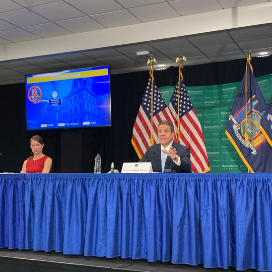 New York Gov. Andrew Cuomo delivers a coronavirus update at Binghamton University's College of Pharmacy in Johnson City on Tuesday, May 12, 2020.