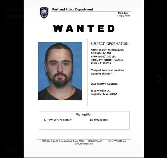 Portland police are seeking a man wanted for bank robbery in Portland. Anyone with information should call police at 361-777-4444.