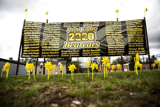 A large sign with every Paint Valley senior name is located in downtown Bainbridge to honor the seniors.