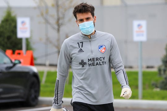 Mathieu Deplagne, an FC Cincinnati defender, in the Mercy Health Training Center parking lot on Monday, May 11.