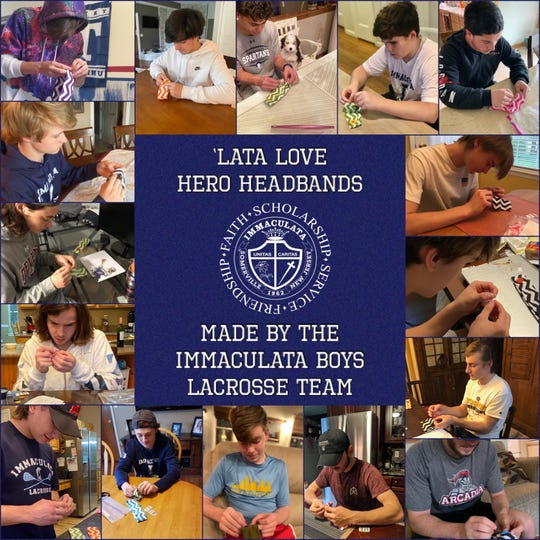 """Immaculata's Boy Lacrosse team """"sews up"""" its latest service project."""