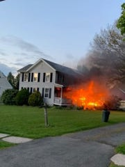 A 100-year-old home in the Dayton section of South Brunswick was heavily damaged by fire on Monday.