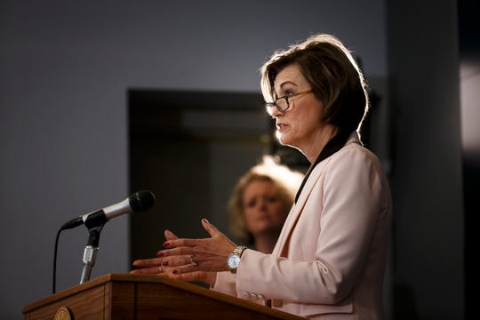 Iowa Governor Kim Reynolds speaks during a daily press conference updating the state on COVID-19 numbers and response efforts on Tuesday, May 12, 2020 in Des Moines. There have been another 18 COVID-19 related deaths and 539 positive tests for a total of 12,912 cases.