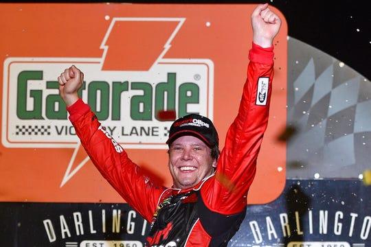 Erik Jones won the Southern 500 at Darlington Raceway last year.