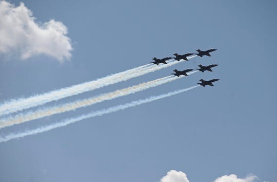 Blue Angels fly over Henry Ford Hospital in Detroit.