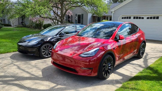 The 2020 Tesla Model Y (right) is similar to the brand's Model 3 sedan (left), but has made some significant quality improvements, say experts.