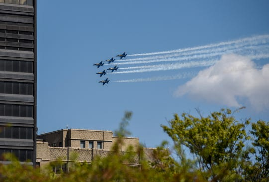 The Blue Angels fly over downtown Detroit, Tuesday, May 12, 2020.