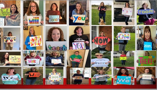 "Elmira City School District special education teachers and related service providers hold signs to deliver a virtual message to their students: ""We will teach you in a room, we will teach you now on Zoom. We will teach you here or there, we will teach you because we care!"""