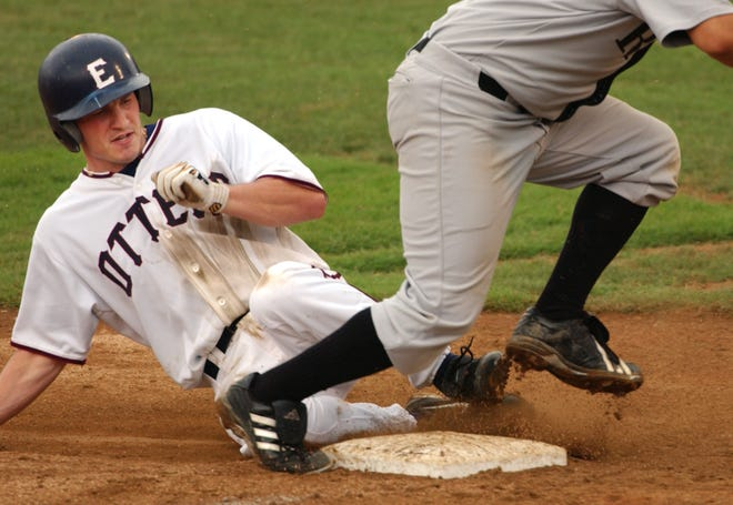 Jeff Goldbach, sliding safely into third against River City in 2005, was shot and killed. Goldbach, a Princeton legend, lifted the Evansville Otters to the 2006 Frontier League championship.