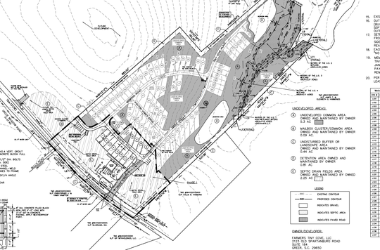 This spring 2020 plat for the Farmers Cove tiny-home community outside Greer, South Carolina, shows 74 lots arranged on about 15 acres off Groce Meadow Road near Lake Robinson.