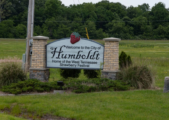 Humboldt sign welcomes drivers as they drive through Humboldt, Tenn., Monday, May 11, 2020.