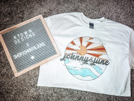 Tanna Hensley collaborated with an online retailer based in Nashville and designed this vintage looking Johnny & June T-shirt.