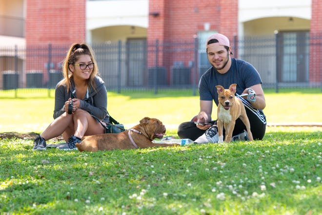 Courtney Treyes and Christian St Peter with their dogs Roxie and Captian at an Acadiana park last week as Louisiana began reopening.
