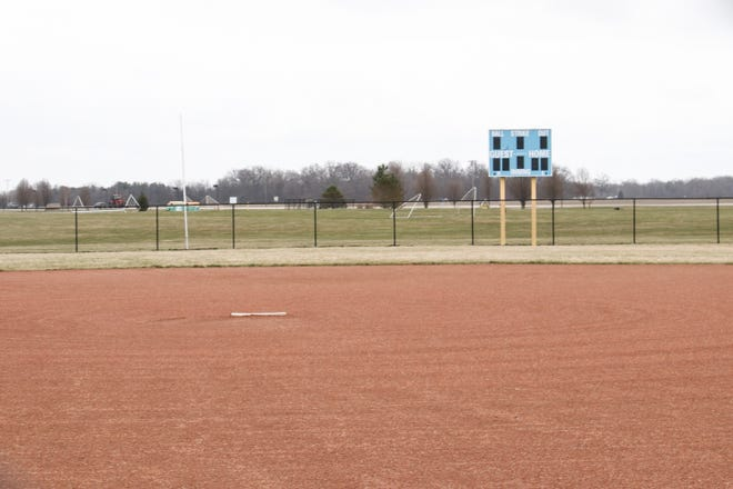 The softball field at River Valley sits dormant this spring as sports were canceled by the Ohio High School Athletic Association due to the coronavirus pandemic.