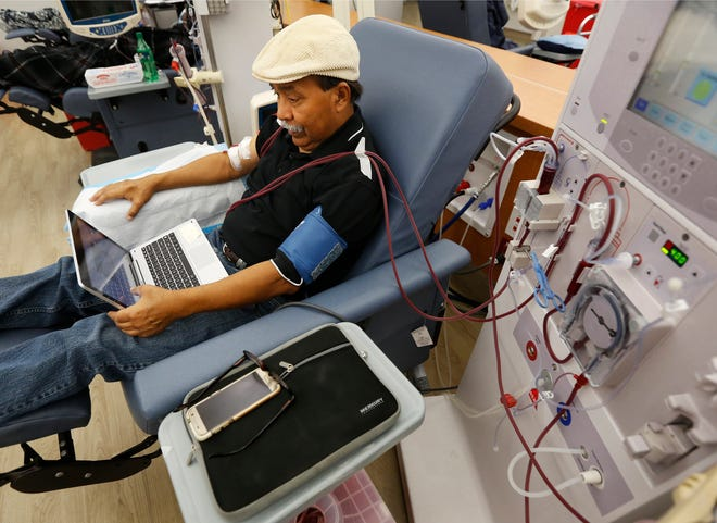 Adrian Perez undergoes dialysis at a DaVita Kidney Care clinic in Sacramento, Calif in 2018.