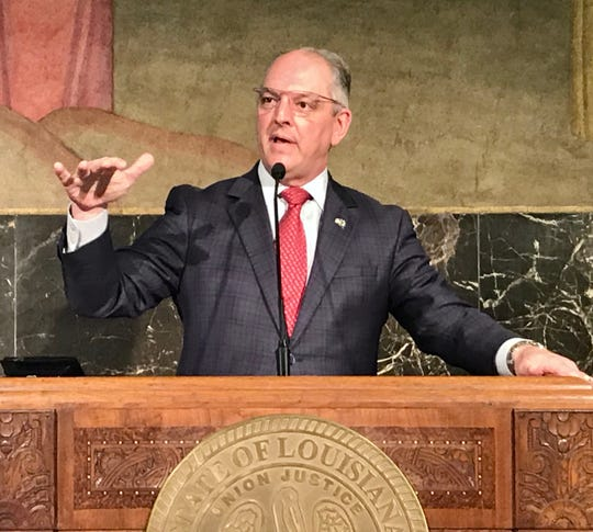 Louisiana Gov. John Bel Edwards speaks during a May 11, 2020 press conference in the Capitol.