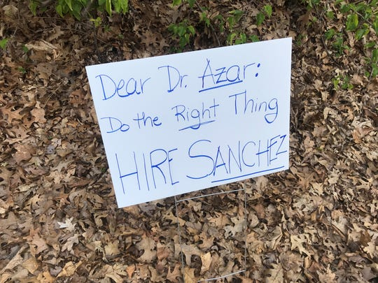 A sign supports tenure for Mountain Lakes High School Principal Frank Sanchez. May 9, 2020