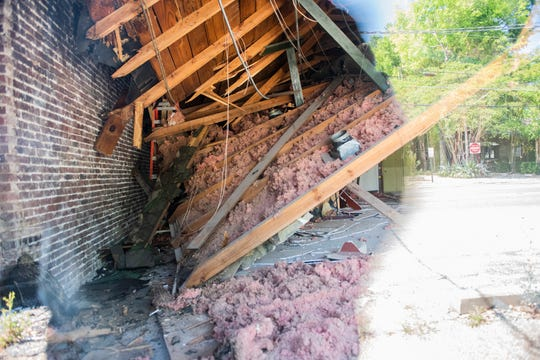 An interior collapse at a store fronts on Fairview Ave. in Cloverdale neighborhood in Montgomery, Ala., on Tuesday, May 12, 2020.