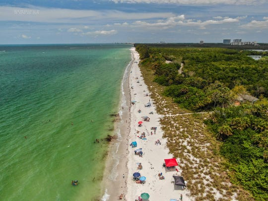 Drone shots taken by the Collier County Sheriff's Office show Wiggins Pass on Saturday, May 9, 2020.