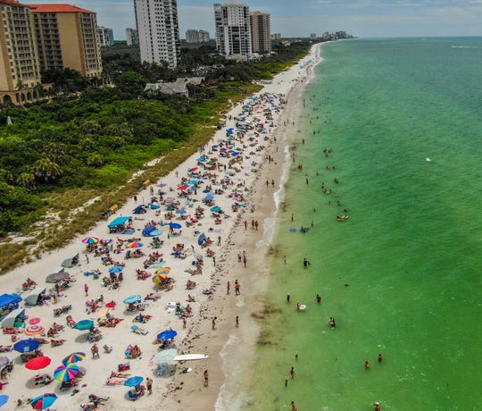 Drone shots taken by the Collier County Sheriff's Office show Vanderbilt Beach on Saturday, May 9, 2020.