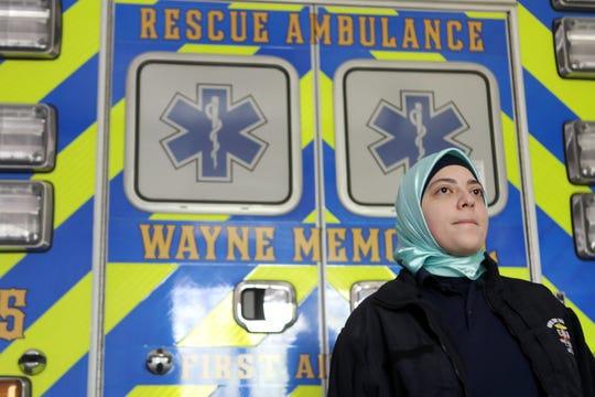 Maram Hozien, 20, a volunteer EMT for the Wayne Township Memorial First Aid Squad.