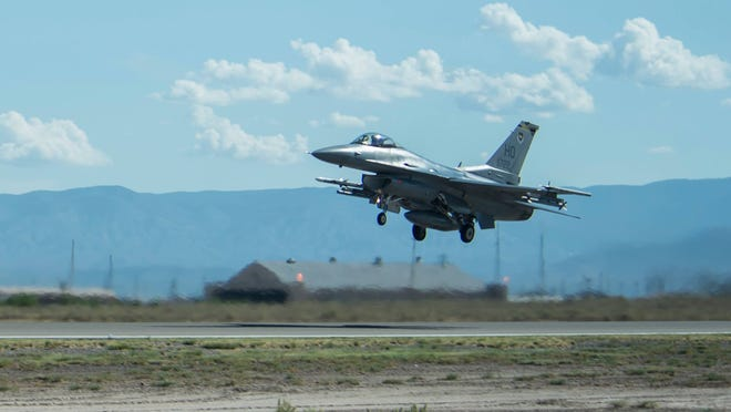 An F-16 Fighting Falcon lands at Holloman Air Force Base at an undisclosed date and time.