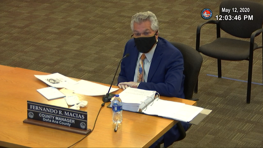 Doña Ana County Manager Fernando Macias speaks during a county commission meeting May 12, 2020. The county discussed a resolution urging face masks in public places to mitigate coronavirus spread.