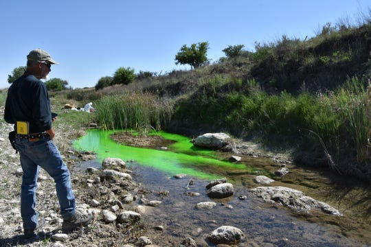 National Cave and Karst Institute's Dr. Lewis Land watches uranine dye sink into the bed of the Black River.