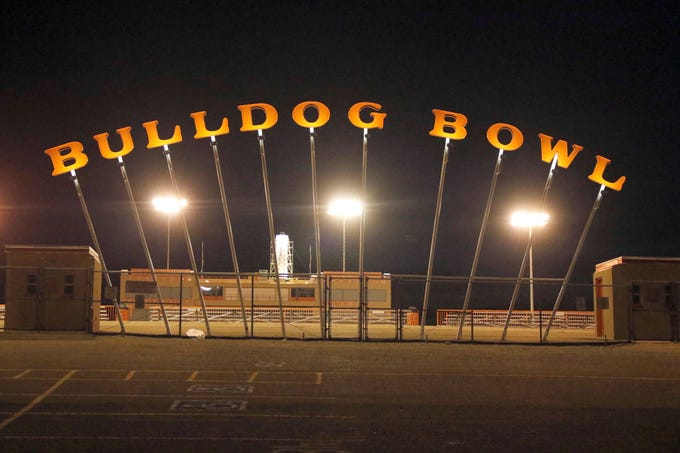 The Bulldog Bowl in Artesia turns on its stadium lights every Friday night from 8 p.m. until 9 p.m. Cars flood the parking lot and the school fight song plays on the loudspeakers. Taken May 8, 2020.